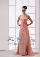 Evening peach floral gown