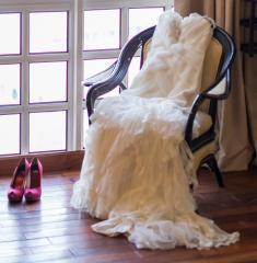 La Sposa Wedding Gown & Stuart Weitzman Pumps