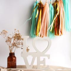 Party paper tassels | vintage | rustic | Mint, pink, gold garland